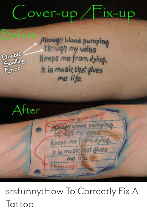 Pumping: over-up/Fix-u  cfore  Altough blood pumping  though my veins  Keeps me from dying  It is music that gives  me life.  Double  Spe  ellin  ror  After  thouo  blood pumping  h my veios  Keeps me from dying  t is musictnat gives  through srsfunny:How To Correctly Fix A Tattoo