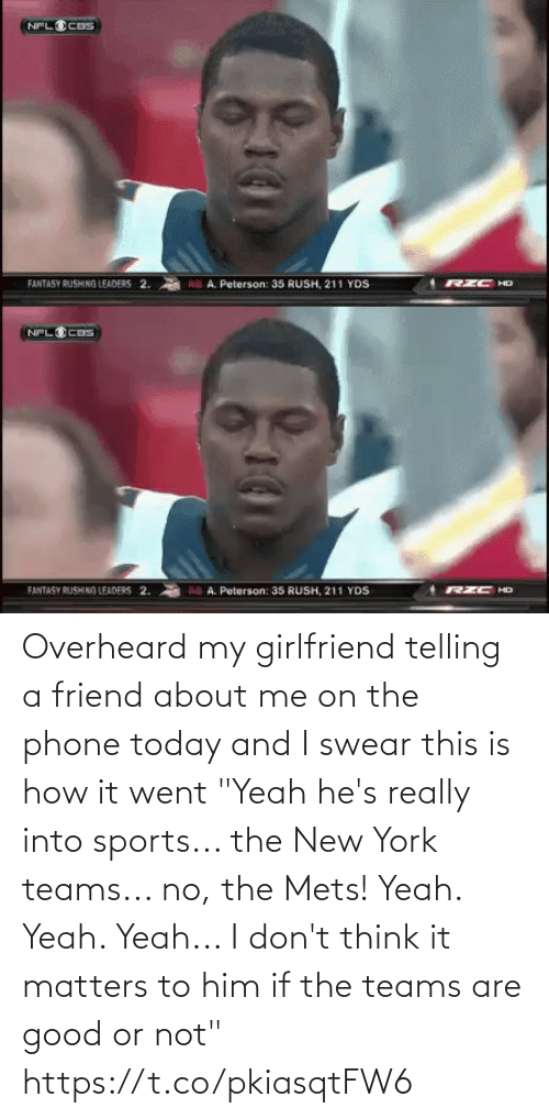 """i-dont-think: Overheard my girlfriend telling a friend about me on the phone today and I swear this is how it went  """"Yeah he's really into sports... the New York teams... no, the Mets! Yeah. Yeah. Yeah... I don't think it matters to him if the teams are good or not"""" https://t.co/pkiasqtFW6"""