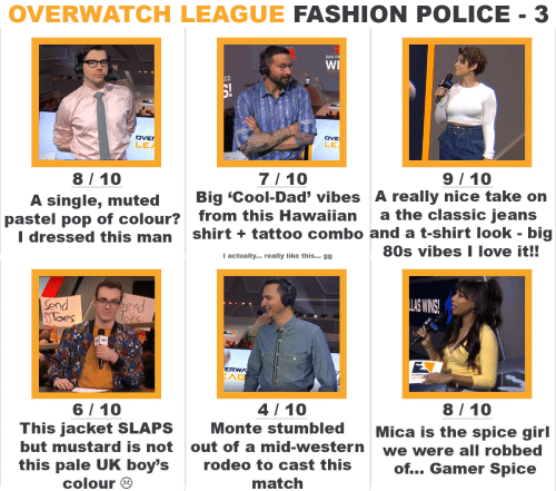 Western: OVERWATCH LEAGUE FASHION POLICE - 3   SAN F  WI  CO  DVE  LE  DVE  LE  7/ 10  A single, muted Big 'Cool-Dad' vibes A really nice take on  I dressed this man shirt +tattoo combo and a t-shirt look - big  8/10  9/ 10  pastel pop of colour?  from this Hawaiian  a the classic jeans  80s vibes I love it!!  Iactually... really like this... gg   Send  loes  nd  S WINS  ERW  AG  4/10  8/ 10  6/ 10  This jacket SLAPS  but mustard is not  this pale UK boy's  Monte stumbledMica is the spice girl  out of a mid-western  rodeo to cast this  match  we were all robbed  of... Gamer Spice  colour