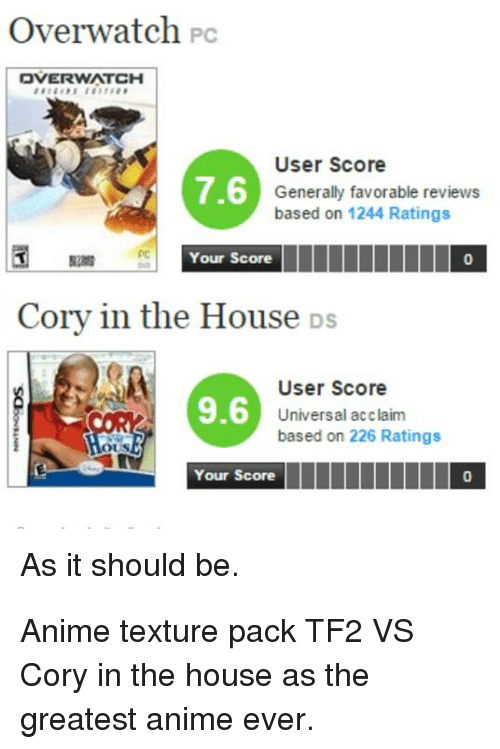 Cory In The House Ds: Overwatch Pc  DVERWATCH  User Score  Generally favorable reviews  based on 1244 Ratings  7.6  Your Score  0  Cory in the House DS  User Score  Universal acclaim  based on 226 Ratings  9.6  Your Score  0  As it should be.