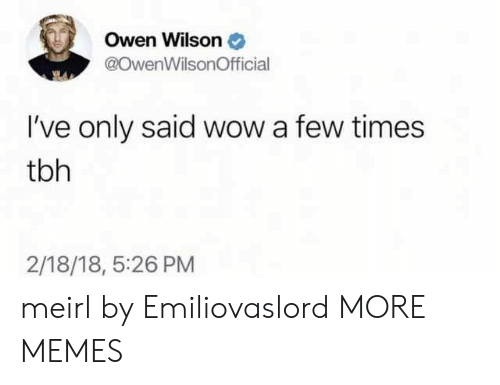 Owen Wilson: Owen Wilson  @OwenWilsonOfficial  I've only said wow a few times  tbh  2/18/18, 5:26 PM meirl by Emiliovaslord MORE MEMES