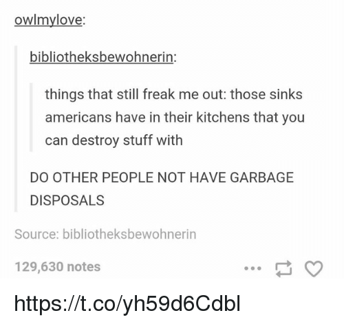 Love, Stuff, and Garbage: owimy love:  bibliotheksbewohnerin  things that still freak me out: those sinks  americans have in their kitchens that you  can destroy stuff with  DO OTHER PEOPLE NOT HAVE GARBAGE  DISPOSAL  Source: bibliotheksbewohnerin  129,630 notes https://t.co/yh59d6Cdbl