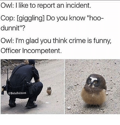 """Crime, Funny, and Memes: Owl: I like to report an incident.  Cop: giggling] Do you know """"hoo-  dunnit""""?  Owl: I'm glad you think crime is funny,  Officer Incompetent.  @BetaSalmon"""