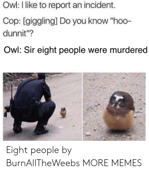 """incident: Owl: I like to report an incident.  Cop: [giggling] Do you know """"hoo-  dunnit?  Owl: Sir eight people were murdered Eight people by BurnAllTheWeebs MORE MEMES"""