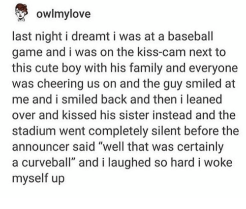 "Baseball, Cute, and Family: owlmy love  last night i dreamt i was at a baseball  game and i was on the kiss-cam next to  this cute boy with his family and everyone  was cheering us on and the guy smiled at  me and i smiled back and then i leaned  over and kissed his sister instead and the  stadium went completely silent before the  announcer said ""well that was certainly  a curveball"" and i laughed so hard i woke  myself up"
