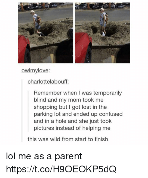 Finish: owlmylove:  charlottelabouff:  Remember when I was temporarily  blind and my mom took me  shopping but I got lost in the  parking lot and ended up confused  and in a hole and she just took  pictures instead of helping me  this was wild from start to finish lol me as a parent https://t.co/H9OEOKP5dQ