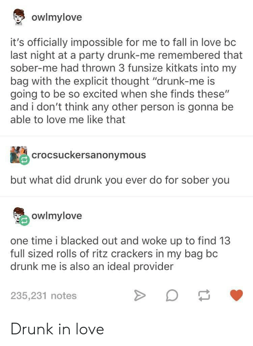 """Blacked: owlmylove  it's officially impossible for me to fall in love bc  last night at a party drunk-me remembered that  sober-me had thrown 3 funsize kitkats into my  bag with the explicit thought """"drunk-me is  going to be so excited when she finds these""""  and i don't think any other person is gonna be  able to love me like that  crocsuckersanonymous  but what did drunk you ever do for sober you  owlmylove  one time i blacked out and woke up to find 13  full sized rolls of ritz crackers in my bag bc  drunk me is also an ideal provider  235,231 notes Drunk in love"""