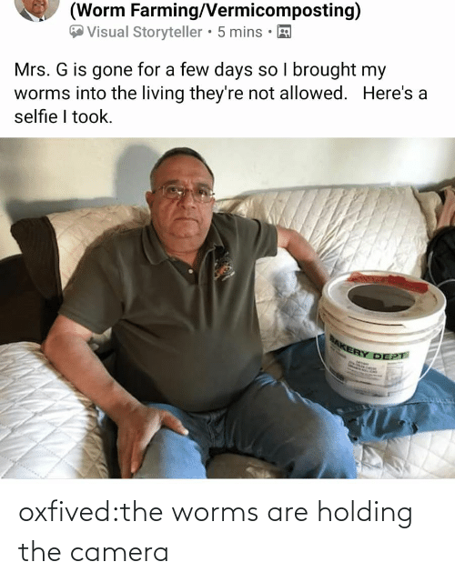 Holding: oxfived:the worms are holding the camera
