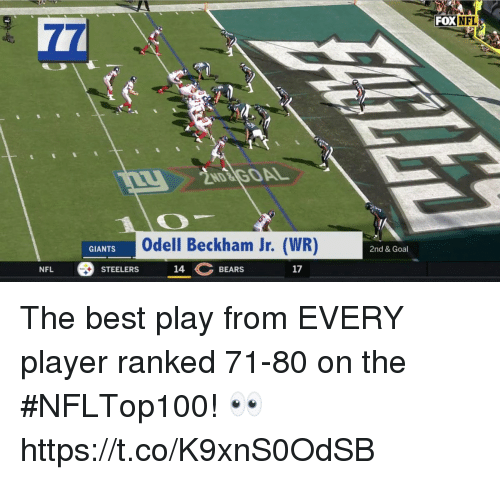 Memes, Nfl, and Odell Beckham Jr.: OXNFL  Odell Beckham Jr. (WR)  GIANTS  2nd & Goal  STEELERS 14 BEARES  NFL  17 The best play from EVERY player ranked 71-80 on the #NFLTop100! 👀 https://t.co/K9xnS0OdSB