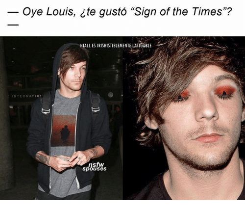 "Memes, Nsfw, and 🤖: Oye Louis, te gusto ""Sign of the Times""?  NIAll ES IRISHISTIBLEMENTE LATIGABLE  INTERNATIO  nsfw  spouses"