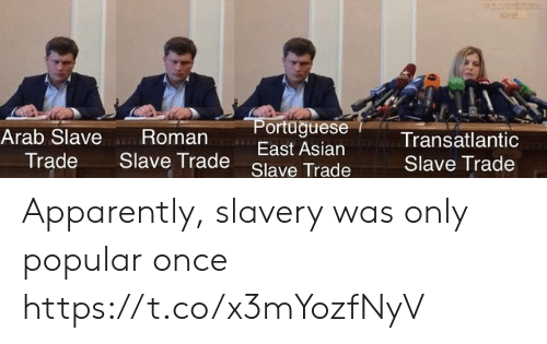 slave trade: P  ortaguese  East Asian  an-w-  Arab Slave Roman  Trade Slave Trade  Transatlantic  Slave Trade  Slave Trade Apparently, slavery was only popular once https://t.co/x3mYozfNyV