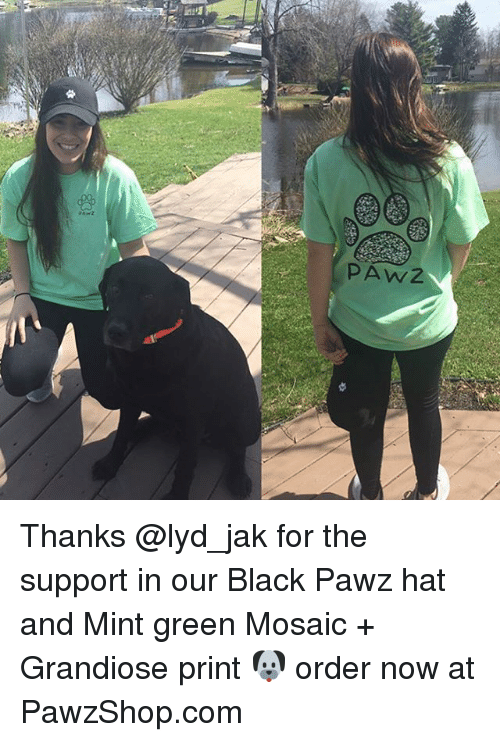 w-2: PA W/2 Thanks @lyd_jak for the support in our Black Pawz hat and Mint green Mosaic + Grandiose print 🐶 order now at PawzShop.com