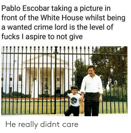White House: Pablo Escobar taking a picture in  front of the White House whilst being  a wanted crime lord is the level of  fucks I aspire to not give He really didnt care