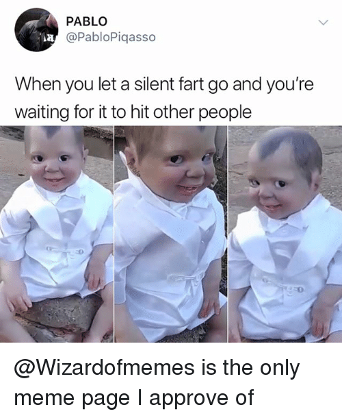 Meme, Memes, and Waiting...: PABLO  @PabloPiqasso  Aa  When you let a silent fart go and you're  waiting for it to hit other people  :0  350 @Wizardofmemes is the only meme page I approve of
