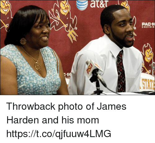 James Harden, Memes, and Mom: PAC1  STATE Throwback photo of James Harden and his mom https://t.co/qjfuuw4LMG