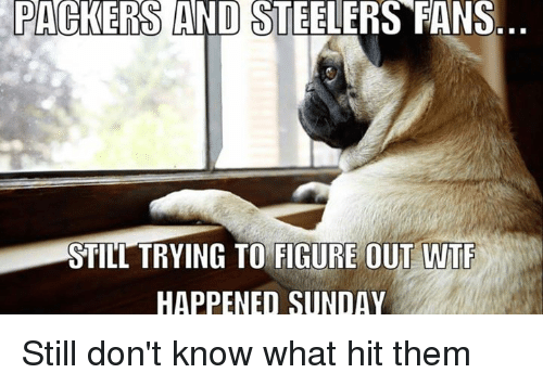 steeler: PACKERS AND STEELERS FANS  STILL TRYING TO FIGURE OUT WTF  HAPPENED SUNDAY Still don't know what hit them