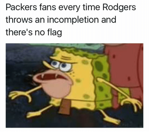 Packer Fans: Packers fans every time Rodgers  throws an incompletion and  there's no flag