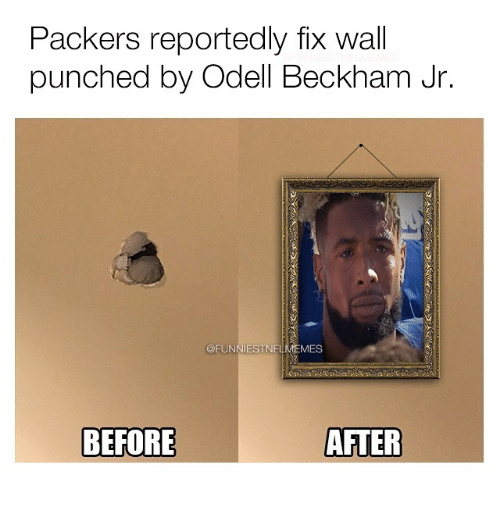 Nfl, Odell Beckham Jr., and Packers: Packers reportedly fix wall  punched by Odell Beckham Jr.  MES  AFTER  BEFORE