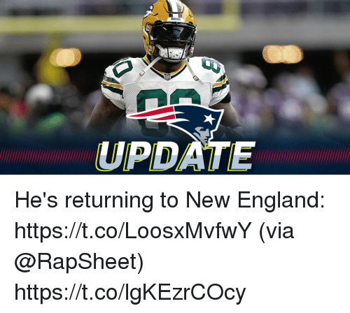 England, Memes, and Packers: PACKERS  UPDATE He's returning to New England: https://t.co/LoosxMvfwY (via @RapSheet) https://t.co/lgKEzrCOcy