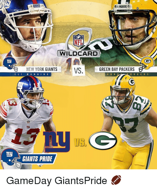 Green Bay Packers, Memes, and New York Giants: PACKERS  WILDCARD  ny  NEW YORK GIANTS VS  GREEN BAY PACKERS  E L I  A A R O  M A N N I N G  PACERS  my  GIANTS PRIDE GameDay GiantsPride 🏈