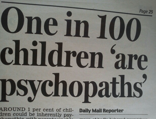 Daily Mail: Page 25  One in 100  children 'are  psychopaths  AROUND 1 per cent of chil- Daily Mail Reporter  ren could be inherently psy-