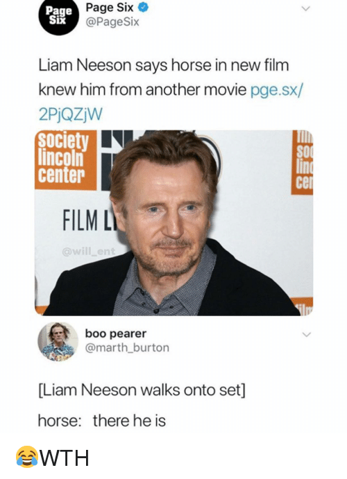 burton: Page  Six  IX  Page Six  @PageSix  Liam Neeson savs horse in new film  knew him from another movie pge.sx/  2PjQzjW  Society  lincoln  center  cel  FILM L  @will_ent  boo pearer  @marth burton  [Liam Neeson walks onto set]  horse: there he is 😂WTH