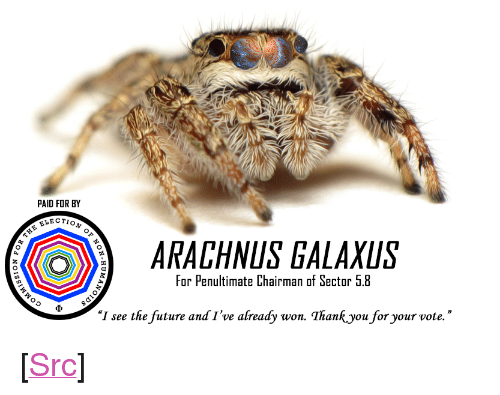 """Future, Reddit, and Truth: PAID FOR BY  ELECTIO  ARACHNUS GALAXUS  For Penultimate Chairman of Sector 5.8  """"I see the future and I've already won. Thankyou for your vote."""" <p>[<a href=""""https://www.reddit.com/r/surrealmemes/comments/8gu4zr/a_vote_for_arachnus_is_a_vote_for_truth/"""">Src</a>]</p>"""