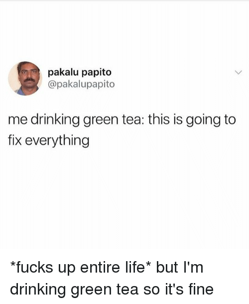 Drinking, Life, and Girl Memes: pakalu papito  @pakalupapito  me drinking green tea: this is going to  fix everything *fucks up entire life* but I'm drinking green tea so it's fine