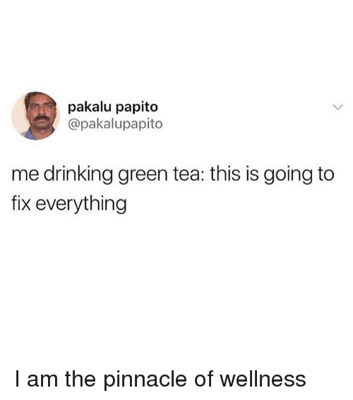 Drinking, Pinnacle, and Girl Memes: pakalu papito  @pakalupapito  me drinking green tea: this is going to  fix everything I am the pinnacle of wellness