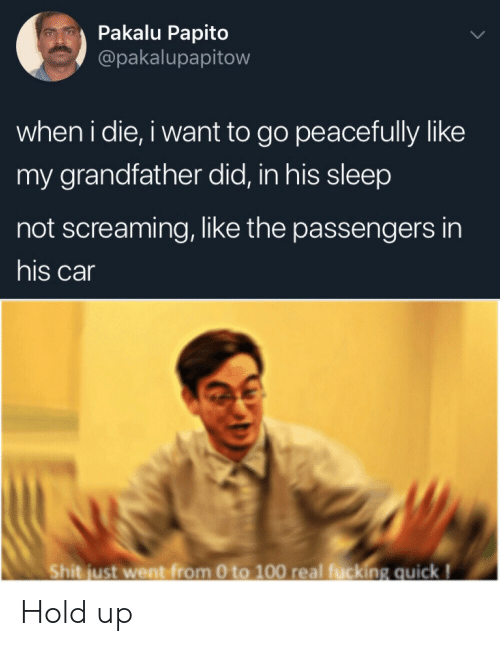 0 to 100, Sleep, and Car: Pakalu Papito  @pakalupapitow  when i die, i want to go peacefully like  my grandfather did, in his sleep  not screaming, like the passengers in  his car  Shit just went from 0 to 100 real fucking quick! Hold up
