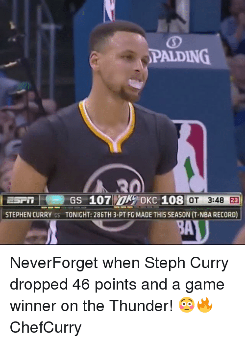 Memes, Nba, and Stephen: PALDING.  STEPHEN CURRY  cs TONIGHT: 286TH 3.PT FG MADE THIS SEASON (T-NBA RECORD)  AU NeverForget when Steph Curry dropped 46 points and a game winner on the Thunder! 😳🔥 ChefCurry