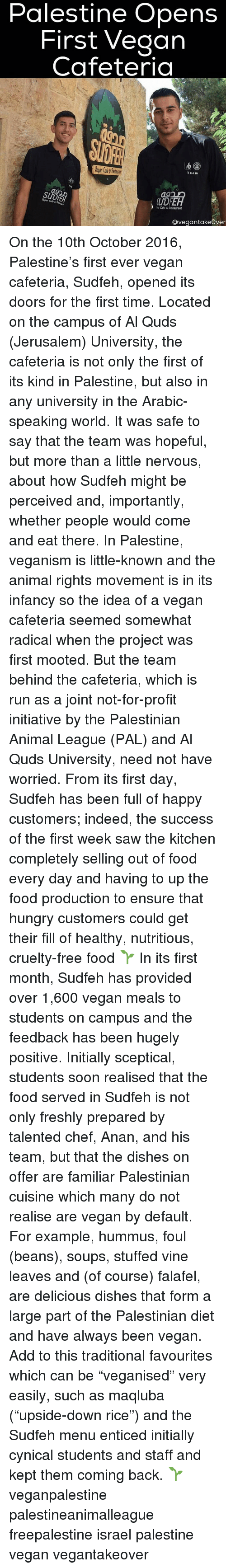 """Initialisms: Palestine Opens  First Vegan  Cafeteria  Team  Vegan Cafe 6  Cafe &lestaurant  Ovegantakeover On the 10th October 2016, Palestine's first ever vegan cafeteria, Sudfeh, opened its doors for the first time. Located on the campus of Al Quds (Jerusalem) University, the cafeteria is not only the first of its kind in Palestine, but also in any university in the Arabic-speaking world. It was safe to say that the team was hopeful, but more than a little nervous, about how Sudfeh might be perceived and, importantly, whether people would come and eat there. In Palestine, veganism is little-known and the animal rights movement is in its infancy so the idea of a vegan cafeteria seemed somewhat radical when the project was first mooted. But the team behind the cafeteria, which is run as a joint not-for-profit initiative by the Palestinian Animal League (PAL) and Al Quds University, need not have worried. From its first day, Sudfeh has been full of happy customers; indeed, the success of the first week saw the kitchen completely selling out of food every day and having to up the food production to ensure that hungry customers could get their fill of healthy, nutritious, cruelty-free food 🌱 In its first month, Sudfeh has provided over 1,600 vegan meals to students on campus and the feedback has been hugely positive. Initially sceptical, students soon realised that the food served in Sudfeh is not only freshly prepared by talented chef, Anan, and his team, but that the dishes on offer are familiar Palestinian cuisine which many do not realise are vegan by default. For example, hummus, foul (beans), soups, stuffed vine leaves and (of course) falafel, are delicious dishes that form a large part of the Palestinian diet and have always been vegan. Add to this traditional favourites which can be """"veganised"""" very easily, such as maqluba (""""upside-down rice"""") and the Sudfeh menu enticed initially cynical students and staff and kept them coming back. 🌱 veganpalestine palestinea"""