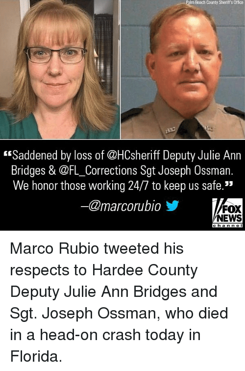 "Head, Memes, and News: Palm Beach County Sheriff's Office  ""Saddened by loss of @HCsheriff Deputy Julie Ann  Bridges & @FL_Corrections Sgt Joseph Ossman.  We honor those working 24/7 to keep us safe.""  @marcorubio步  FOX  NEWS  cha n ne l Marco Rubio tweeted his respects to Hardee County Deputy Julie Ann Bridges and Sgt. Joseph Ossman, who died in a head-on crash today in Florida."