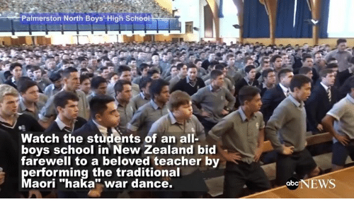 """Abc, Dancing, and Memes: Palmerston North Boys High School  Watch the students of an all-  boys school in New Zealand bid  farewell to a beloved teacher by  erforming the traditional  aori """"haka"""" war dance.  abc  WS"""
