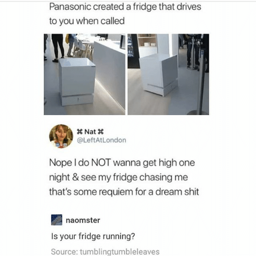 A Dream, Ironic, and Shit: Panasonic created a fridge that drives  to you when called  @LeftAtLondon  Nope I do NOT wanna get high one  night & see my fridge chasing me  that's some requiem for a dream shit  naomster  Is your fridge running?  Source: tumblingtumbleleaves