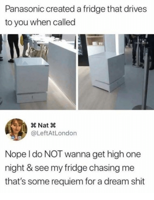 A Dream, Dank, and Shit: Panasonic created a fridge that drives  to you when called  × Nat ×  @LeftAtLondon  Nope l do NOT wanna get high one  night & see my fridge chasing me  that's some requiem for a dream shit