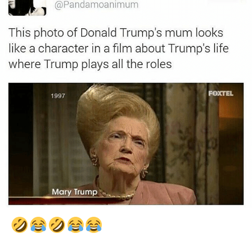 Life, Trump, and Girl Memes: @Pandamoanimum  This photo of Donald Trump's mum looks  like a character in a film about Trump's life  where Trump plays all the roles  1997  FOXTE  Mary Trump 🤣😂🤣😂😂