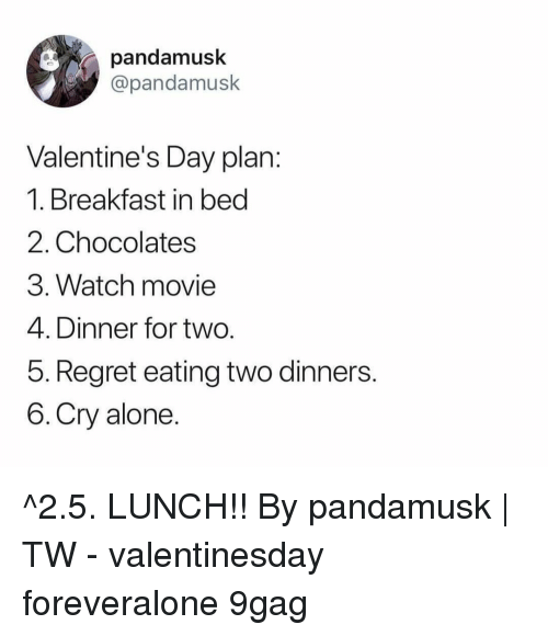 Breakfast In Bed: pandamusk  @pandamusk  Valentine's Day plan  1. Breakfast in bed  2. Chocolates  3. Watch movie  4. Dinner for two  5. Regret eating two dinners  6.Cry alone ^2.5. LUNCH!!⠀ By pandamusk | TW⠀ -⠀ valentinesday foreveralone 9gag