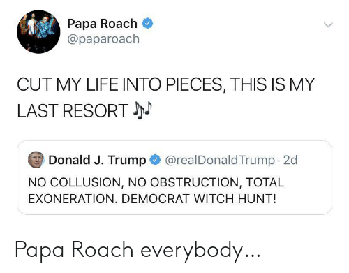 democrat: Papa Roach  @paparoach  CUT MY LIFE INTO PIECES, THIS IS MY  LAST RESORT  @realDonaldTrump 2d  Donald J. Trump  NO COLLUSION, NO OBSTRUCTION, TOTAL  EXONERATION. DEMOCRAT WITCH HUNT! Papa Roach everybody…