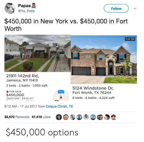 Christi: Papas  @Tre_Potts  Follow  $450,000 in New York vs. $450,000 in Fort  Worth  1 of 36  21911 142nd Rd,  Jamaica, NY 11413  3 beds 2 baths 1,050 sqft  5124 Windstone Dr,  Fort Worth, TX 76244  6 beds 4 baths 4,224 sqft  Map  FOR SALE  $450,000o  Zestimate: $446,417  9:12 AM-17 Jul 2017 from Corpus Christi, TX  22,570 Retweets 47,410 Likes $450,000 options