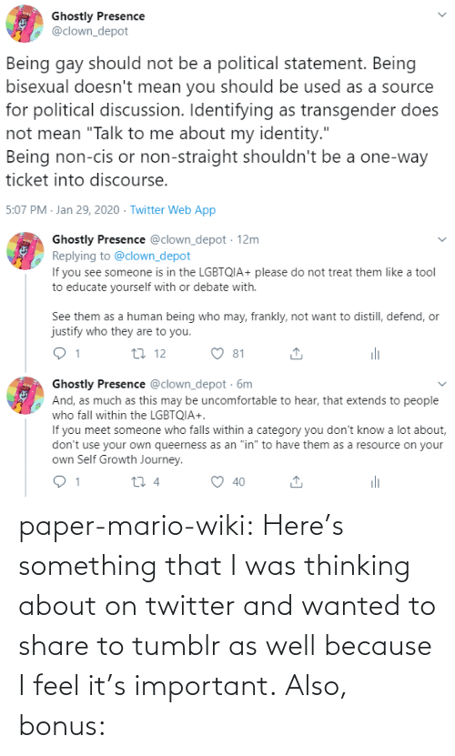 Thinking About: paper-mario-wiki:  Here's something that I was thinking about on twitter and wanted to share to tumblr as well because I feel it's important. Also, bonus: