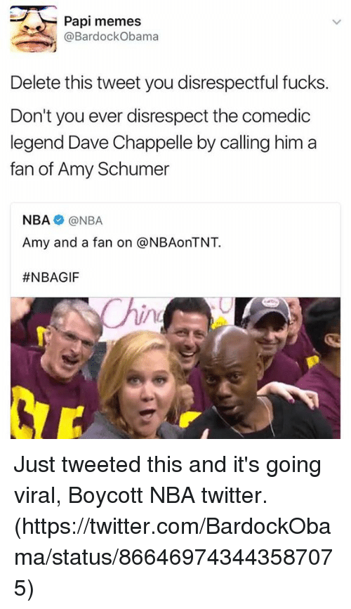 Amy Schumer, Memes, and Nba: Papi memes  @Bardock Obama  Delete this tweet you disrespectful fucks  Don't you ever disrespect the comedic  legend Dave Chappelle by calling him a  fan of Amy Schumer  NBA NBA  Amy and a fan on @NBAonTNT.  Just tweeted this and it's going viral,  Boycott NBA twitter.  (https://twitter.com/BardockObama/status/866469743443587075)