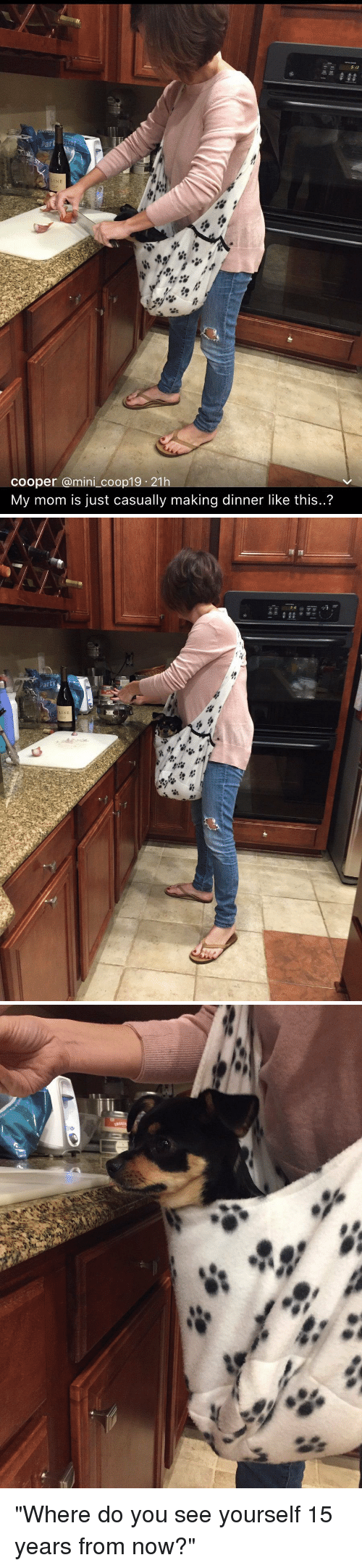 """Relatable, Mom, and Mini: Par  Cooper a mini coop19 21h  My mom is just casually making dinner like this..?   party  NE   溜胤溜. """"Where do you see yourself 15 years from now?"""""""