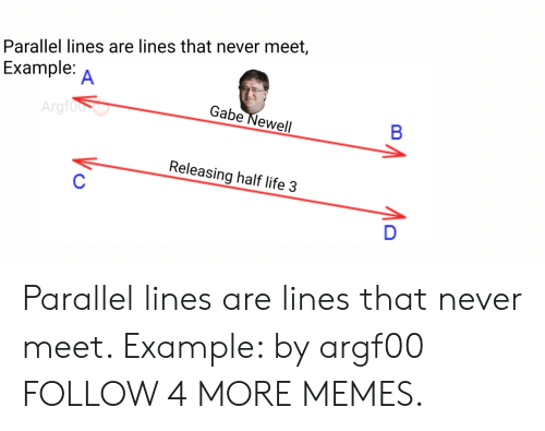 half life 3: Parallel lines are lines that never meet,  Example:  A  Gabe Newell  Argfood  В  Releasing half life 3  D  Vo Parallel lines are lines that never meet. Example: by argf00 FOLLOW 4 MORE MEMES.