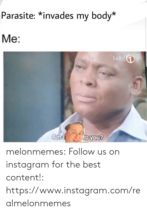 parasite: Parasite: *invades my body*  Me:  SABC  to you?  Am melonmemes:  Follow us on instagram for the best content!: https://www.instagram.com/realmelonmemes