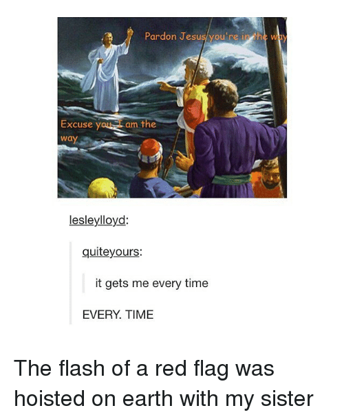 Jesus, Tumblr, and Earth: Pardon Jesus you're in  th W  am the  Excuse y  Wa  lesley lloyd:  quite yours:  it gets me every time  EVERY TIME The flash of a red flag was hoisted on earth with my sister