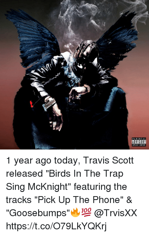 "Memes, Parental Advisory, and Phone: PARENTAL  ADVISORY  EXPLICIT CONTENT 1 year ago today, Travis Scott released ""Birds In The Trap Sing McKnight"" featuring the tracks ""Pick Up The Phone"" & ""Goosebumps""🔥💯 @TrvisXX https://t.co/O79LkYQKrj"