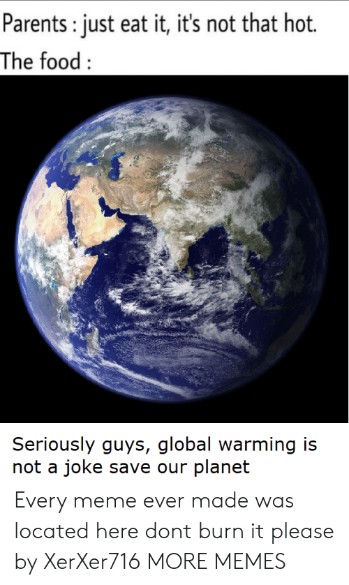 Seriously Guys: Parents: just eat it, it's not that hot.  The food:  Seriously guys, global warming is  not a joke save our planet Every meme ever made was located here dont burn it please by XerXer716 MORE MEMES