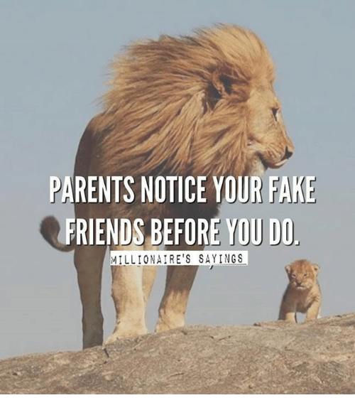 PARENTS NOTICE YOUR FAKE FRIENDS BEFORE YOU DO MILLIONAIRE ...