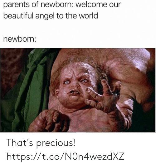 newborn: parents of newborn: welcome  beautiful angel to the world  newborn: That's precious! https://t.co/N0n4wezdXZ
